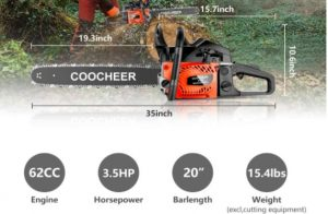 """COOCHEER 58CC 20"""" Gas Chainsaw–Powerful Saw Rocking Farm"""